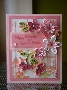 Handmade Quilling Paper Pink Card Happy Birthday to a Special Person by… Origami And Quilling, Quilled Paper Art, Quilling Paper Craft, Quilling Flowers, Quilling Patterns, Quilling Cards, Quilling Designs, Paper Quilling, Paper Flowers