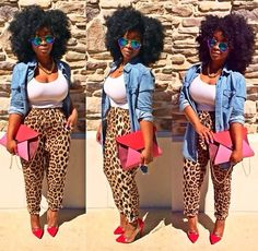 pants cheetah print joggers pants loose pants summer denim shirt summer outfits afro red red c. Curvy Fashion, Look Fashion, Plus Size Fashion, Girl Fashion, Fashion Outfits, Fashion Trends, 90s Fashion, Retro Fashion, Korean Fashion