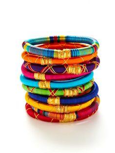 Set of 10 Monsoon Bangle Bracelets by Rosena Sammi on sale now on Gilt.