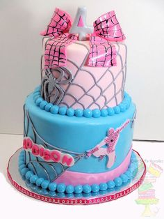 Girly Spiderman Cake. Pretty sure if I were to ever have a daughter this would happen