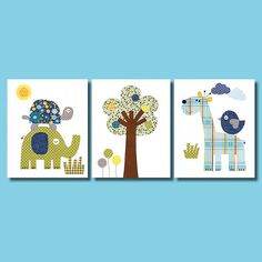 Love Colorful Animal Nursery Artwork Print by 3000yardsofthread