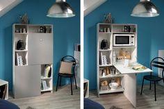 Toutes les astuces sont bonnes pour gagner de la place dans un studio ou un petit espace. On privilégie alors du mobilier convertible, escamotable, rabattable ou mural, et qui cumule parfois plusieurs fonctions.