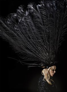 Dramatic black feather headdress - couture millinery, wearable art // Louis Vuitton Spring 2014