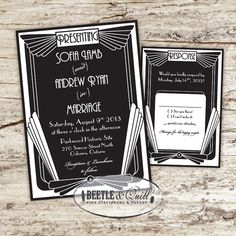 Rapture Arc Deco Wedding Invitation Set $50.  So you caught me two hobbies mixing- I am also a video game geek and was inspired to create this Art Deco design while playing Bioshock. With its distinctly retro-vibe, Art Deco is one eye-catching, classic and bold style that people can't help but take notice of.