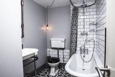 Black and white Victorian contemporary bathroom Peckham, London Bathtub, Victorian, Spaces, London, Contemporary, Black And White, Bathroom, Standing Bath, Washroom