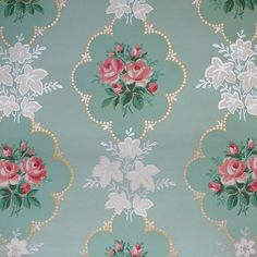 Pink Rose vintage wallpaper on mint green background Room Wallpaper, Fabric Wallpaper, Textures Patterns, Print Patterns, Floral Patterns, Mint Green Wallpaper, Mint Green Background, Victorian Wallpaper, Gold Wedding Theme