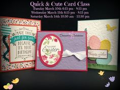 March 2015 Quick and Cute class
