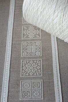 Inspiration, cream thread on dark linen Hardanger Embroidery, Diy Embroidery, Cross Stitch Embroidery, Embroidery Patterns, Cross Stitch Designs, Cross Stitch Patterns, Bargello, Filet Crochet, Cross Stitching