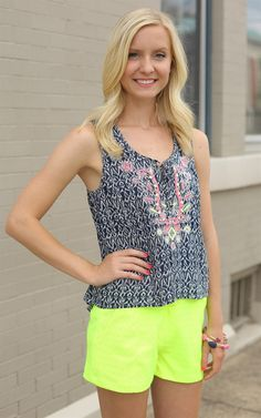 The Navy Multi Neon Embrodiery - We love this navy with a touch of neon! So perfect for the summer!  Dress and Dwell - Good things for you and your home