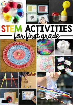Awesome STEM activities for first grade. Tons of ideas for STEM centers, science projects and math games. And they're all just right for first graders!