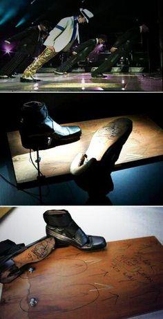 Estos zapatos son los que usaba Michael Jackson para inclinarse en sus conciertos