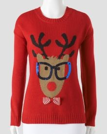 This is actually a very cute ugly Christmas sweater!  Hipster Glasses Reindeer Sweater