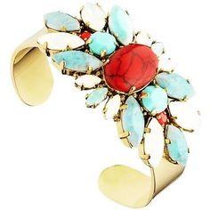 #Albane Cuff Bracelet mafe with #swarovskicrystals  #uneligneparis #turquoise…