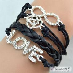Armband Infinity LOVE ROSE  Strass Silber schwarz  im...