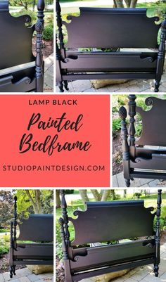 Painted Bed Frames, Painted Headboard, Old Bed Frames, Painted Beds, Diy Bed Frame, Painted Wood, Black Wood Bed Frame, Classic Bedroom Furniture, Painted Bedroom Furniture