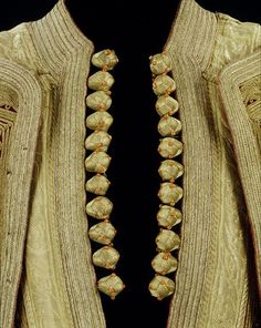 Buttons-Silk thread and cord with coral beads, Albanian man's heavily embroidered jacket. Ca late 19th c.