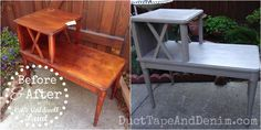 CeCe Caldwell Seattle Mist Side Table Before and After Upcycled Furniture, Diy Furniture, Furniture Projects, Grey Side Table, Side Tables, Side Table Makeover, Before And After Diy, Chalk Paint Furniture, Diy Home Decor Projects