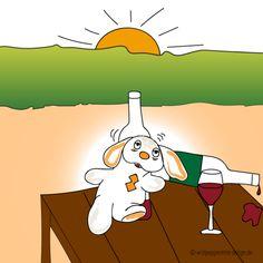 Kritzelbild-herr-bommel-dem wein verfallen, betrunkener Hase, Humor, Lustig, Comic zeichnung, kritzelbild, lustiger hase, heidruns kritzelbilder