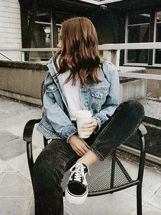 Jean Jacket + Cream Sweater + Black Jeans + Vans Old Skool // ?