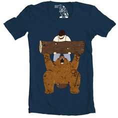 Bear Spotting T-Shirt, Tee, Bear and Man at the Gym, Men's t shirt, Awesome Animal Shirts, Gift for him, Present for guys, Funny tees, S-3XL