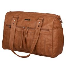 Vanchi Indie Holdall Nappy Bag in Tan Front | My Little Burrow Online Baby Store