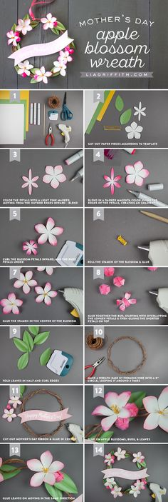 DIY Mini Mother's Day Wreath with Paper Apple Blossoms Brighten Her Day With Blossoms Hang this sweet sentiment on the front or bedroom door to surprise Mom in the morning or after work. Adorned in mini paper apple blossoms, this Mother's Day wreath is ea Paper Flower Tutorial, Paper Flowers Diy, Handmade Flowers, Flower Crafts, Wreath Tutorial, Mothers Day Wreath, Paper Plants, Diy Papier, Mother's Day Diy