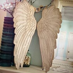 "Wood engraved Angel wings, rustic home decor shabby chic angel wings From sizes 6"" up to 35"" Choose size in the drop down menus by kygracedesigns on Etsy https://www.etsy.com/au/listing/195158350/wood-engraved-angel-wings-rustic-home"