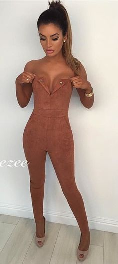 #winter #outfits brown floral jumpsuit