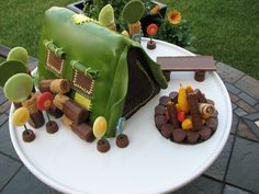 Camping Birthday Party Ideas | Vesna's Party Blog: Camping Birthday Party - Cake