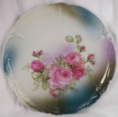 Beautiful Antique Pink Roses on Turquoise Green Porcelain Cabinet Plate | eBay