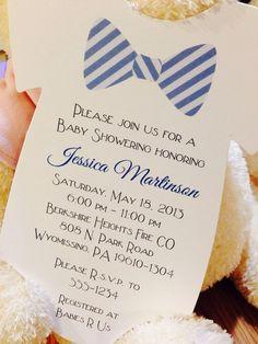 Baby Boy Onesie Baby Shower Invitation - Bow Tie - $1.10 each