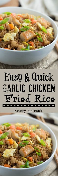 This Garlic Chicken Fried Rice recipe is exactly what you need for that leftover rice and that one last chicken breast in the fridge to create a new meal and avoid a grocery store run!
