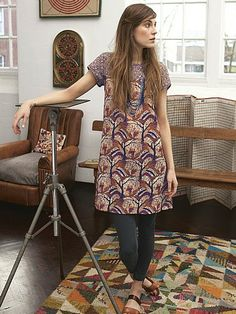 KANTO+MIXED+PRINT+TUNIC White Stuff, Mixing Prints, Spring Outfits, Cool Style, Short Sleeve Dresses, Autumn, Summer Dresses, Tunics, How To Wear