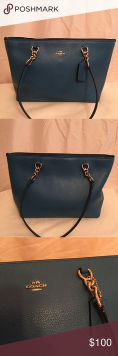 """Coach Peacock Blue Satchel Coach pebbled leather peacock blue Satchel. Measures 12"""" by 9"""". Silver hardware with a zipped top. Perfect used condition. Only carried a few times. Coach Bags Satchels"""