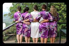 Set of 7 8 9 Kimono Floral Bridesmaid Robes Satin Silk Dressing Gown Wedding Robe gowns, bride robe, wedding party robes, satin robe, kimono. Bridal Party Robes, Gifts For Wedding Party, Wedding Gowns, Bridesmaid Robes, Silk Satin, Peacock, Floral, Table Numbers, Kimono