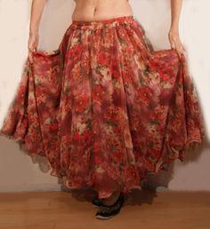 2-lagen chiffon cirkelrok met roze bloemen met golvende zoom - 2-layer skirt chiffon with pink flowers
