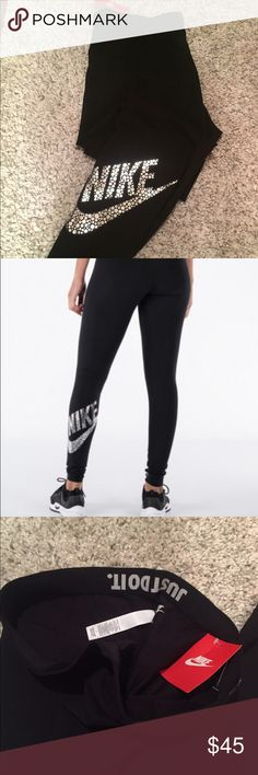 "❤️️Nike Metallic Leg a See Leggings❤️ ⭐️NWT Nike Metallic Leg a See LeggingsColor is BlackGet the comfortable ease of everyday leggings with the Women's Nike Sportswear Leg-A-See Metallic LeggingsSleek and slim, these athletic-inspired leggings offer a curve-hugging fitPrinted with the classic ""Just Do It"" slogan on the elastic waistband..Plus, the eye-catching metallic dot Nike Corporate logo adds a dash of funky style52% cotton, 32% polyester, 11% spandexNO TRADES$35 on Ⓜ️NOT TAKING OFFERS…"