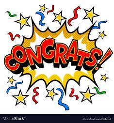 Congrats word comic book pop art vector image on VectorStock Reward Stickers, Teacher Stickers, Comic Book Style, Comic Books, Retro Vector, Vector Free, Letras Abcd, Congratulations Images, Pop Art
