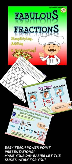 Simplifying fractions,Adding fractions and subtracting fractions with like and unlike denominators. This pack which includes PowerPoint lessons, printable activities, assessments and a marking rubric is a great fractions resource to make your life easier!