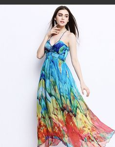 Not my normal choice of colors but I like the graduation of colors. Blue Spaghetti Strap Print Dress