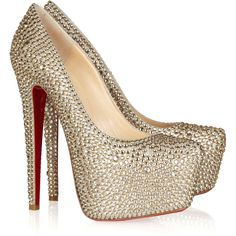 Christian Louboutin Daffodile 160 Crystal-Embellished Suede Pumps ($6,395) ❤ liked on Polyvore