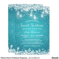 Winter Sweet 16 Sixteen Turquoise Snowflake Lights Card