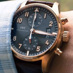Rose Gold IWC Spitfire Chronograph on the wrist of @CrownAndBuckle - via @_TheFashionDaily by _thewatchgallery_