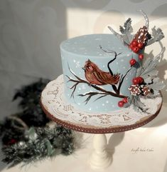 Chirpy Winter - by FireflyIndia @ CakesDecor.com - cake decorating website