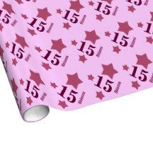 15th Teen Birthday STARS Custom Name Q19 PINK Gift Wrapping Paper $17.95. To see more birthday wrapping paper, go to http://www.zazzle.com/jaclinart/products/cg-196333019616737524 #birthday #giftwrap #teen #teenager #gift #present #wrap #party