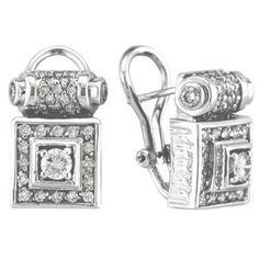 Morris David Victorian Style Diamond Clip Earrings 18k White Gold 1 50ct