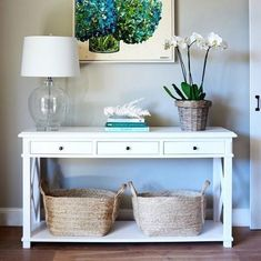 Oak console table - 3 drawers home decor entryway console ta Console Table Styling, White Console Table, Entryway Console Table, Entryway Decor, Console Tables, White Entry Table, Table Lamps, Hall Tables, Side Tables