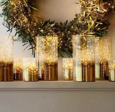 Brighten up the mantle with these gold-dipped vases.