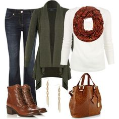 What: Jeans paired with a plain top vibrant infinity scarf and matchingpurse and boot. Where: Pinterest Why: Matching your boot to your purseis a necessity especially when wearing such warm colours. The scarf andcardigan are the perfect pops of colour.
