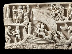 This famous sarcophagus (c. reduced in the eighteenth century to the front only, was discovered in the worksite of the new St. Jonah And The Whale, Roman Sculpture, Statue, Detail, Christ, Sea Monsters, Christian Art, 18th Century, Romans